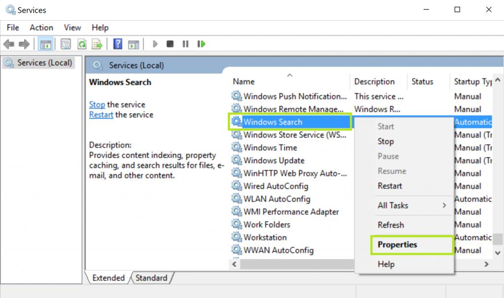 Check The Windows Search Service