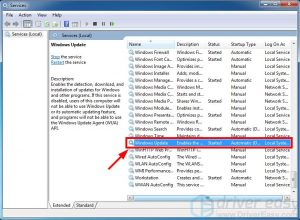 Check the functioning of the Windows Update service
