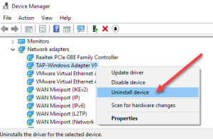 Uninstall the Network Adapter